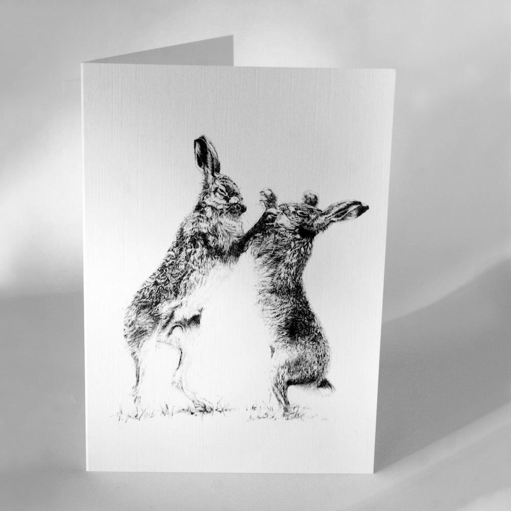 Boxing Hares Greetings Cards