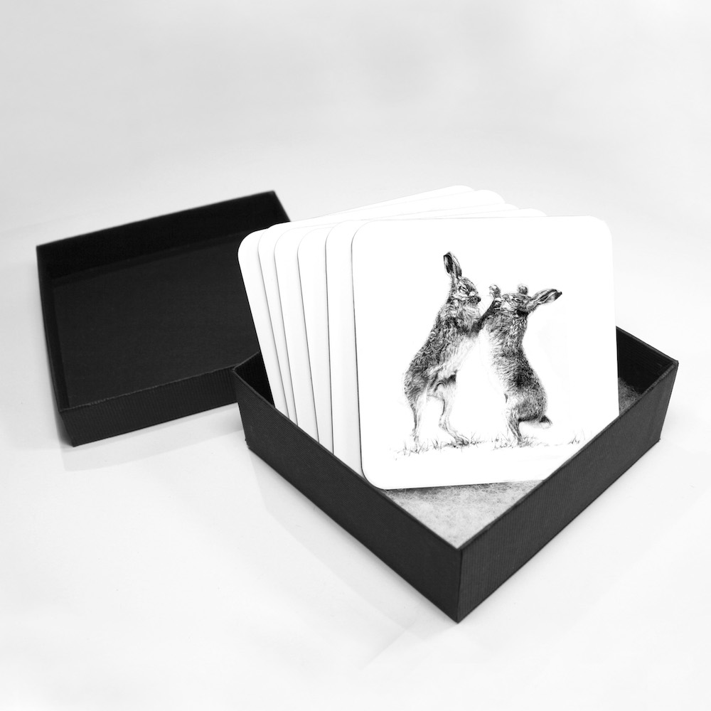 Boxing Hares Coasters