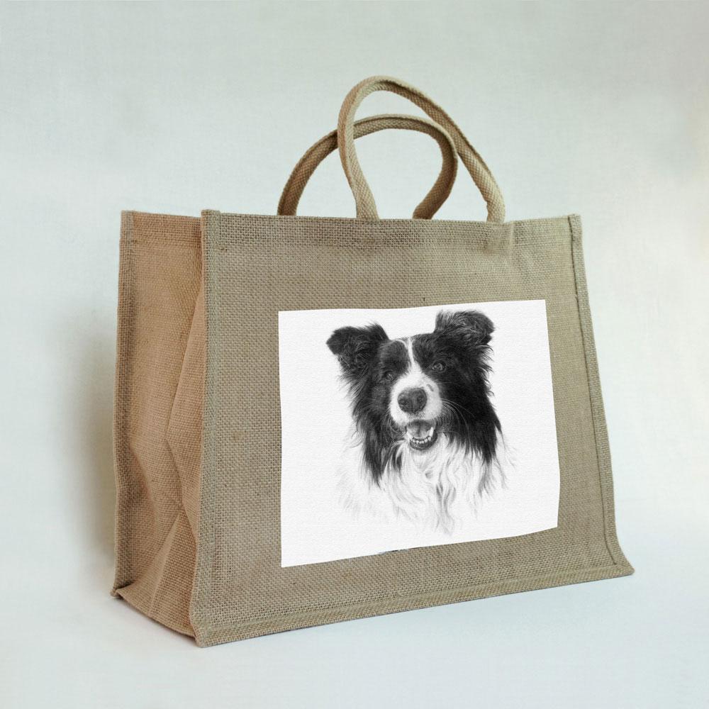 Border Collie Jute Bag