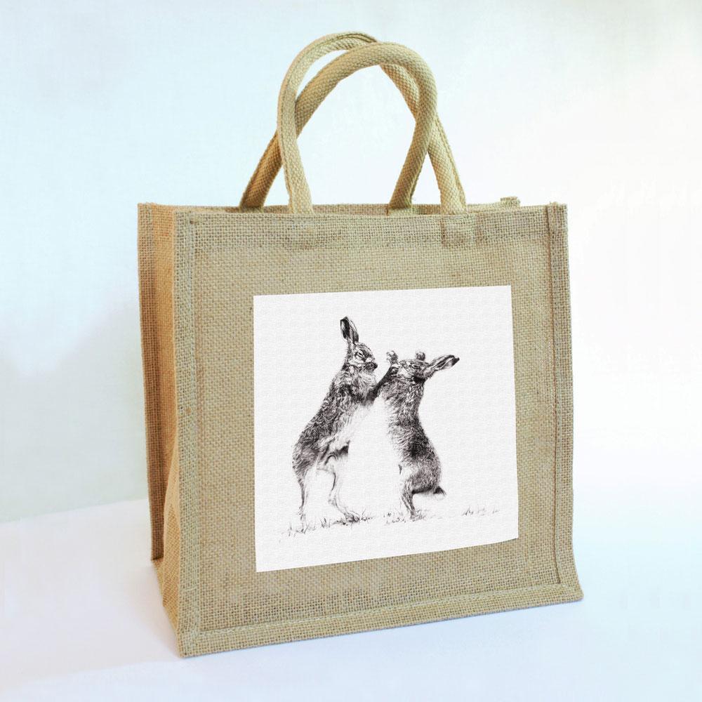 Boxing Hares Jute Bag