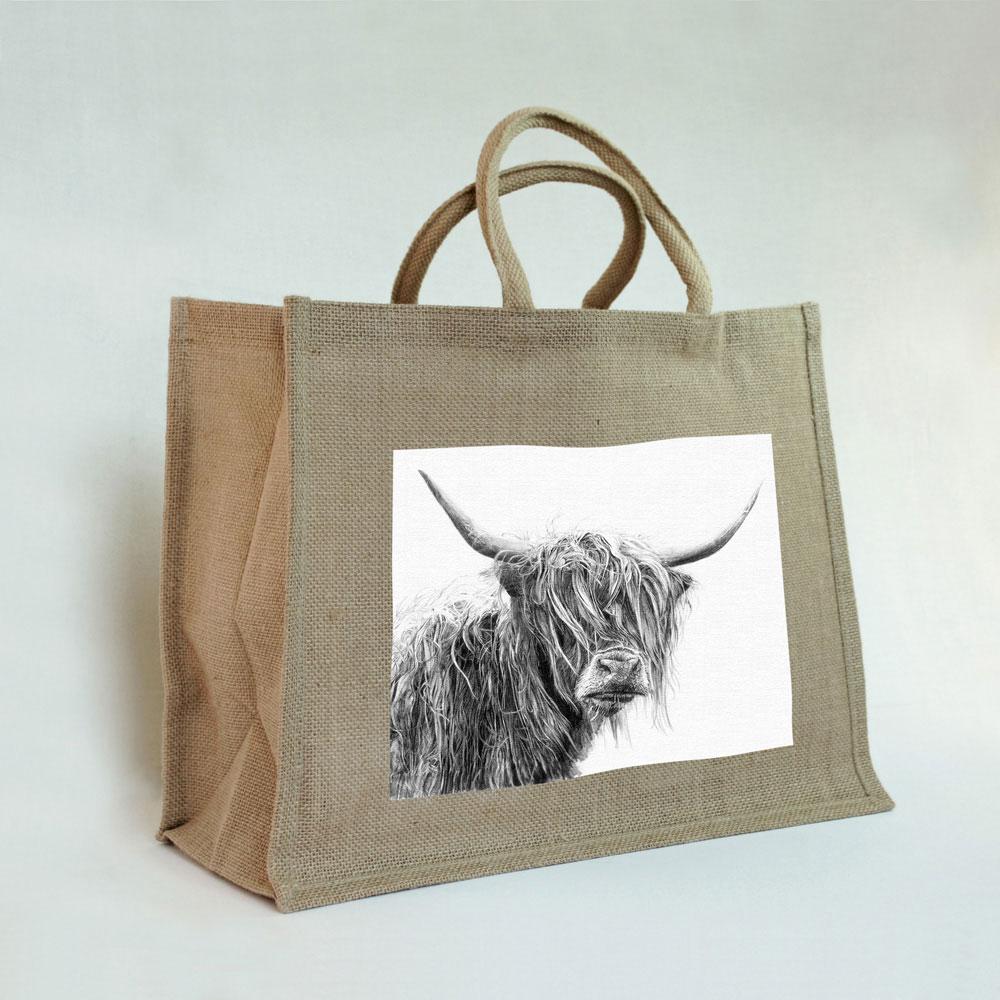 Highland Cow Jute Bag