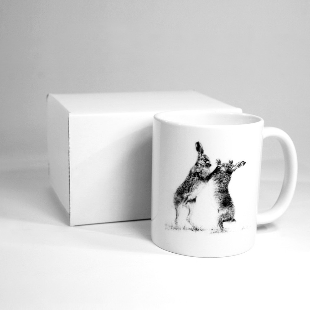 Boxing Hares Ceramic Mug