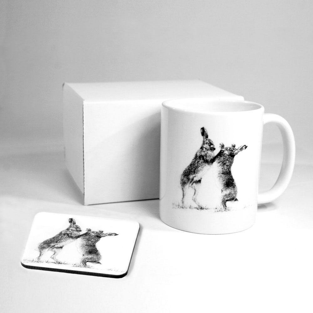 Boxing Hares Mug & Coaster