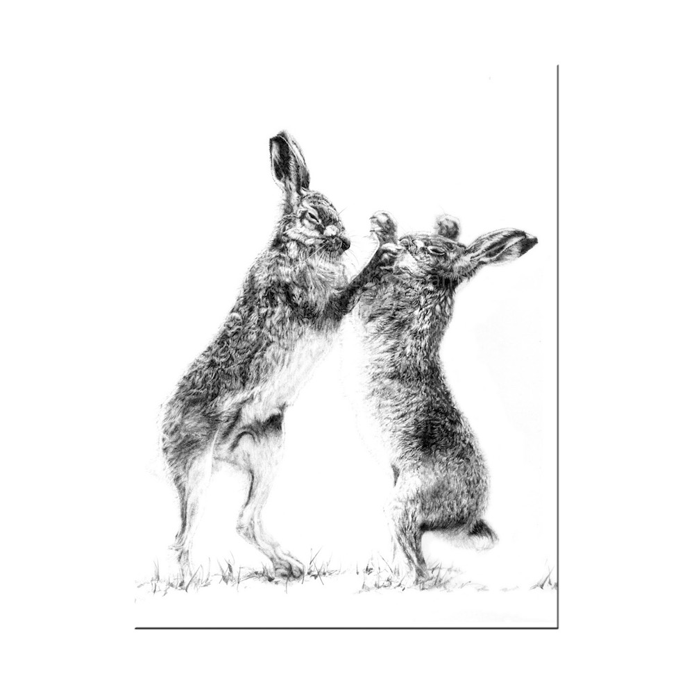 Boxing Hares Print