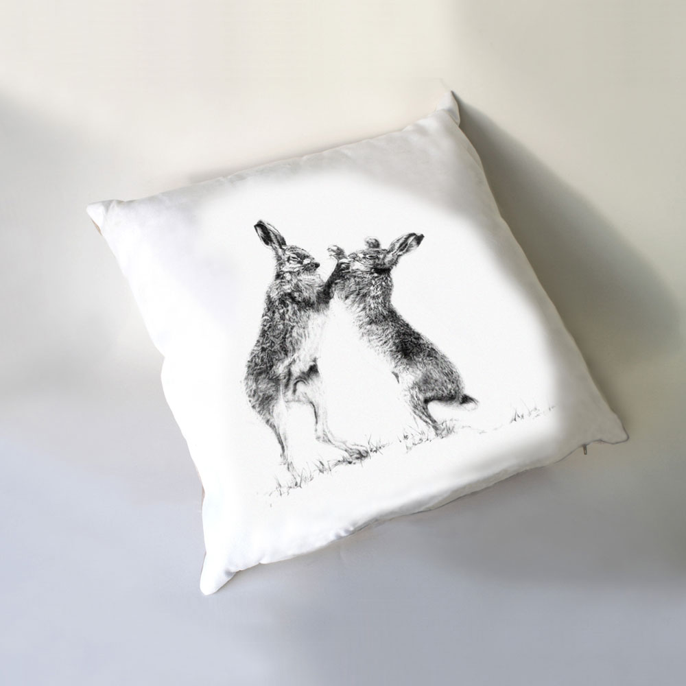 Boxing Hares Luxury Cushion